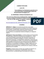 Acuerdo - BOGOTA - Politicas Publicas Por La Competitividad
