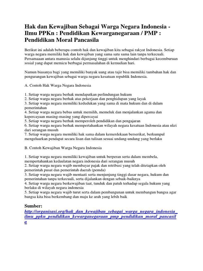 Bahan Bahan Presentasi Hak Dan Kewajiban Warga Negara Indonesia Kel 8