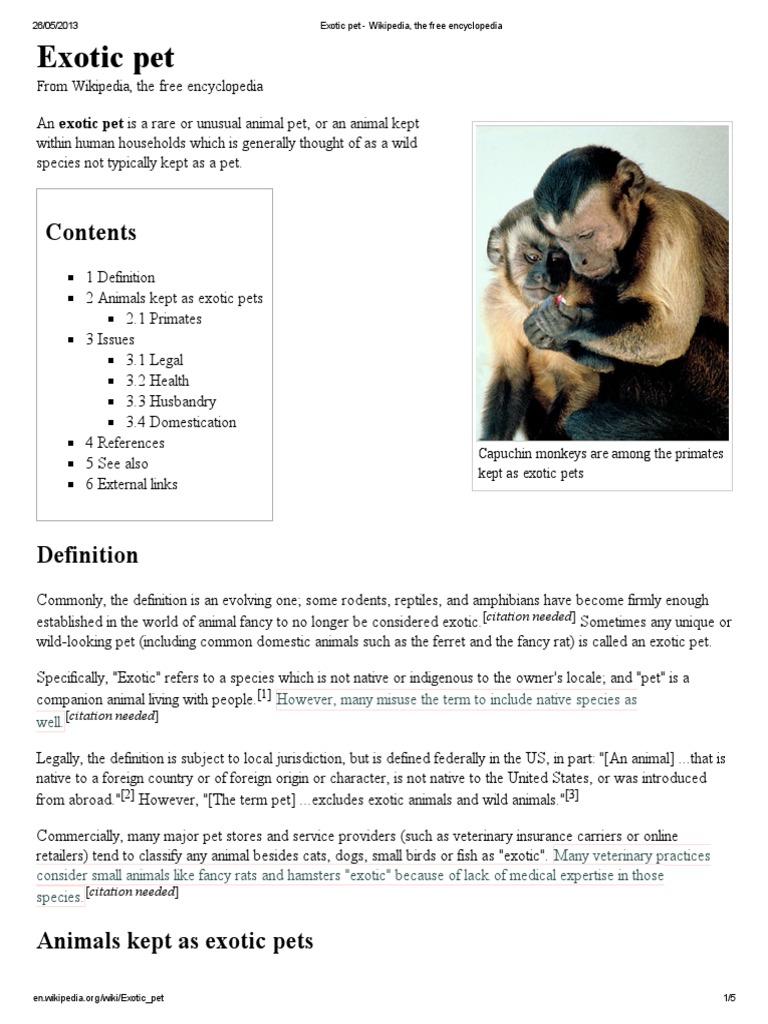 Exotic pet - Wikipedia, the free encyclopedia pdf | Animals