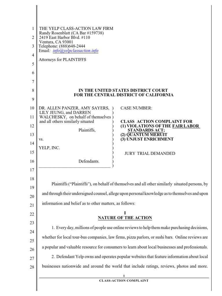 Yelp Class Action Lawsuit   Yelp   Class Action