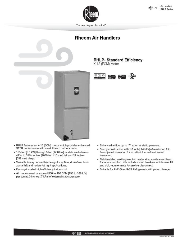 rheem air handler rhlp electrical wiring hvac rh scribd com Fan Motor Capacitor Wiring ECM Motor Wiring Diagram