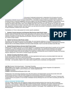 Technology Consulting BTA JD PDF   Sap Se   Computer Science