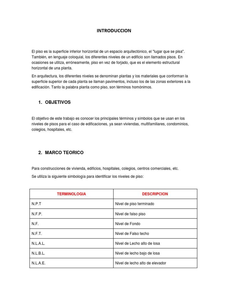 Simbologia de niveles de pisos for Pie de plano arquitectonico pdf