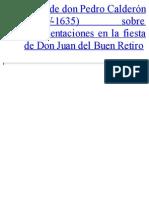 Carta Sobre Representaciones en La Fiest - Calderon de La Barca, Pedro