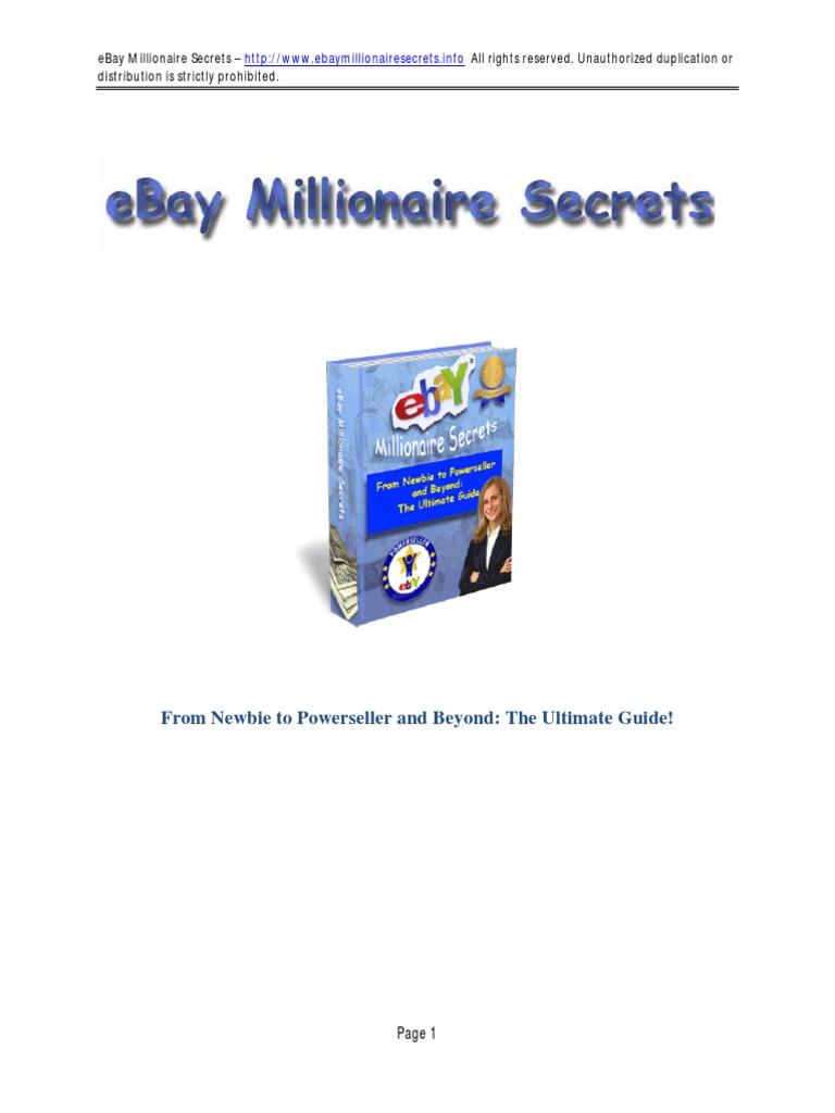 Ebay Millionaire Secrets Pdf E Bay Auction