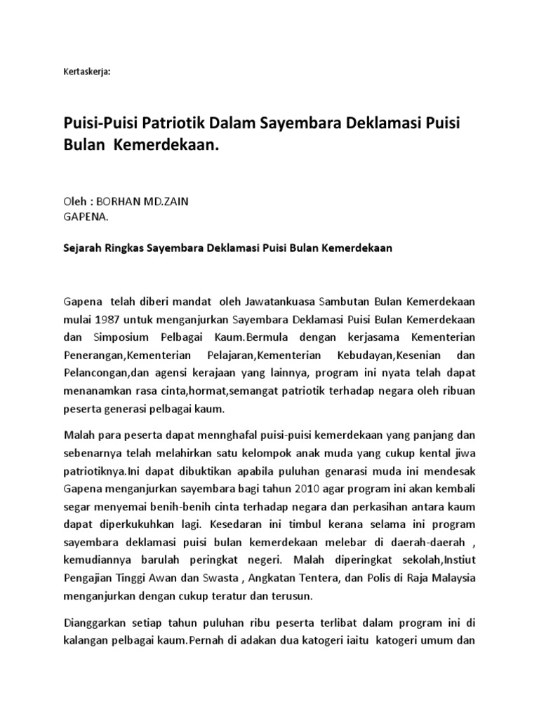 Kertas Kerja Puisi Patriotik Oleh Borhan Md Zain Docx