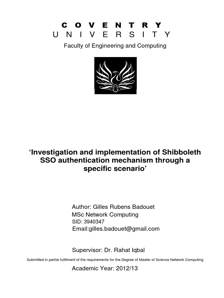 Investigation and implementation of Shibboleth SSO authentication