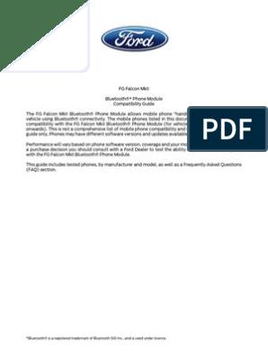 Ford Falcon Bluetooth Compatibility Guide pdf   Bluetooth