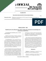 Resolucion 1482-Limites de Cntenido Microbiologico de Productos Cosmeticos