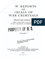 Law Reports of Trial of War Criminals, Volume V, English Edition