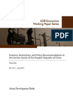 Features, Restrictions, and Policy Recommendations in the Service Sector of the People's Republic of China