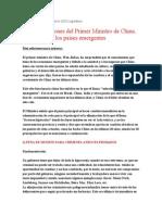 Recomendacion Del Primer Ministro Chino a Las Economias