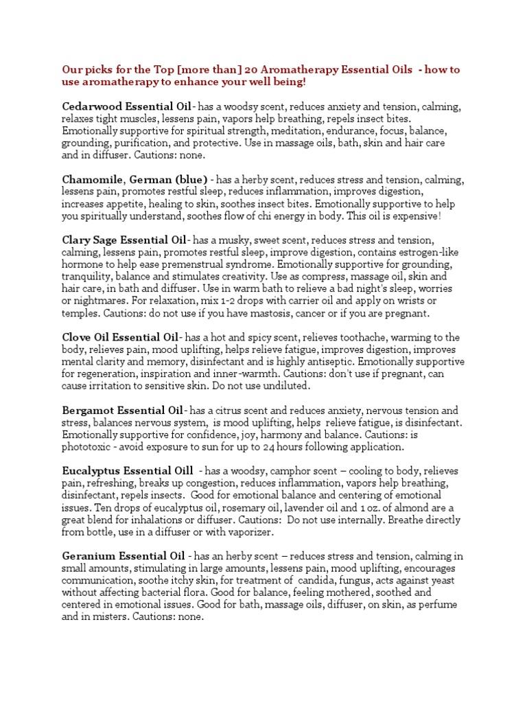 AROMATHERAPY OILS docx | Sexual Dysfunction | Menstruation