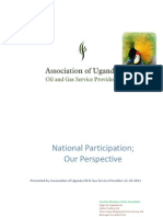 National Participation - Perspective of the Association of Uganda Oil & Gas Service Providers