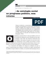 SAUL Renato P Giddens da ontologia social ao programa político sem retorno