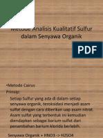 Metode Analisis Kualitatif Sulfur Dalam Senyawa Organik