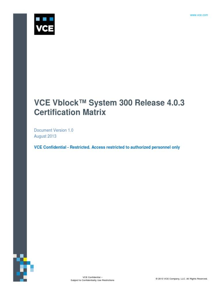 Vblock 300 Certification Matrix 403pdf Computer Architecture