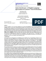 The Effect of Timely Interference  of English Language Teachers  on the Improvement of Learners' Oral Performance