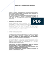 HALLAZGOS DE AUDITORIA Y COMUNICACIÓN DE HALLAZGOS