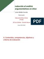 2. Introducción al análisis de textos argumentativos en ética. Primera parte. Ampliar