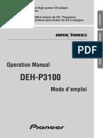 Manual Pioneer DEH P-3100
