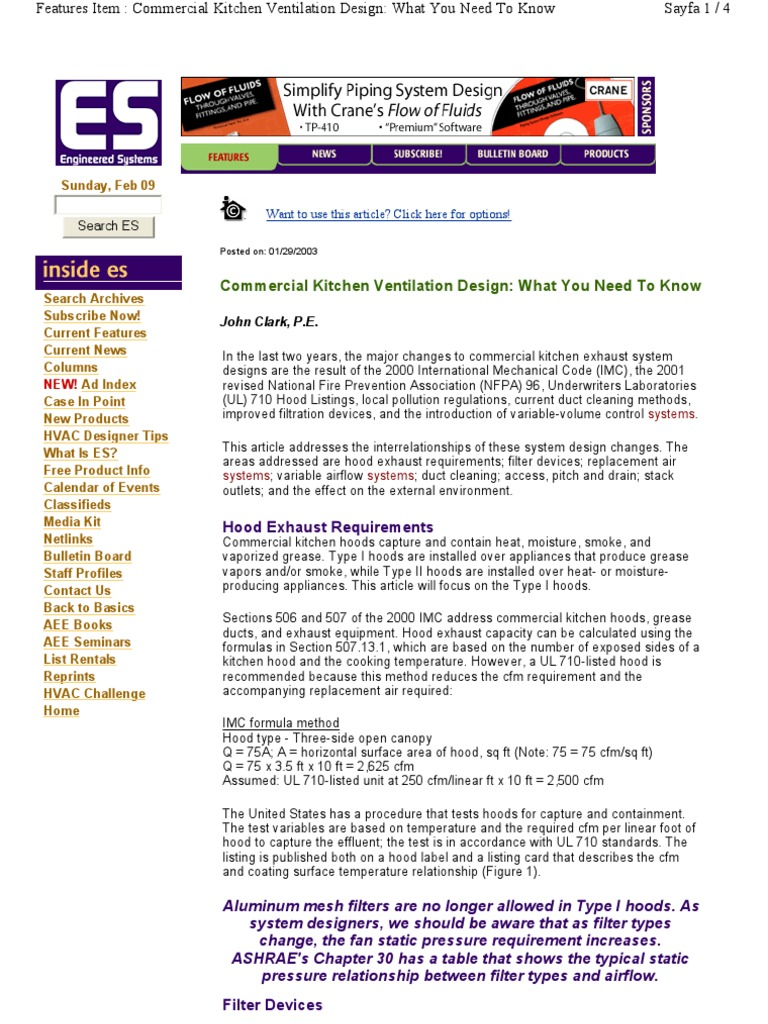 Kitchen Exhaust System Design | Duct (Flow) | Ventilation (Architecture)