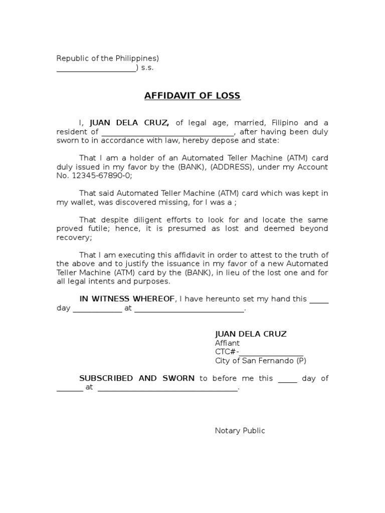 Affidavit Of Loss.atm1 1  Affidavit Template Doc
