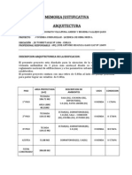 Memoria Descriptiva Arquitectura, Estructura, Electrica y Sanitaria