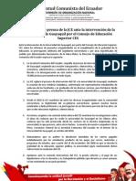 Comunicado de prensa de la JCE ante la intervención de la Universidad de Guayaquil, por parte del Consejo de Educación Superior, CES