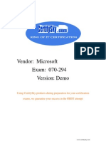 CertifySky  Microsoft 70-294 FREE Training Materials & Study Guide 2009