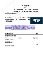 Comparative Analysis of the Human Resource Policies of the Public and Private Ltd. Companies.