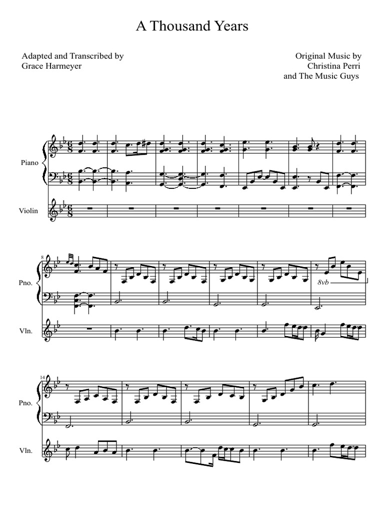 A thousand years piano sheet lyric chord a thousand years violin and piano duet hexwebz Image collections