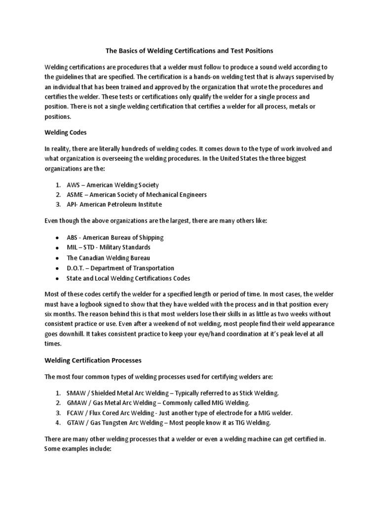 Welder Certificationpdf Welding Pipe Fluid Conveyance