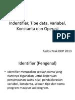 Materi 3 - Identifier, Tipe Data, Variabel, Konstanta Dan Operasi