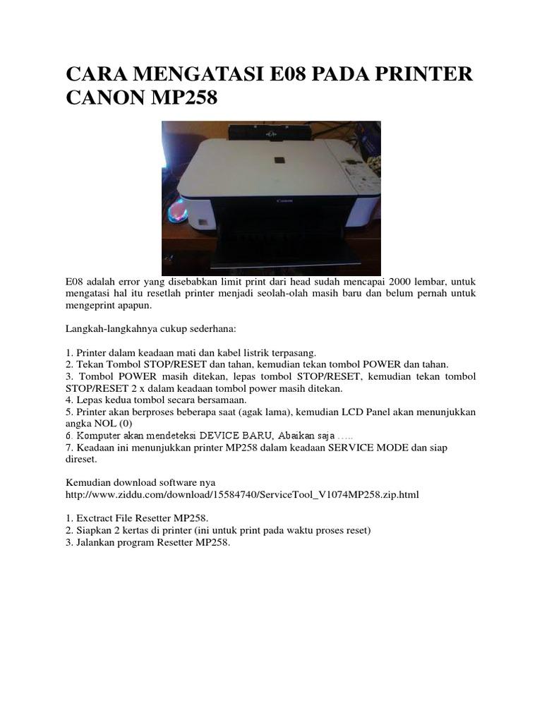 Cara Mengatasi E08 Pada Printer Canon Mp258 Docx