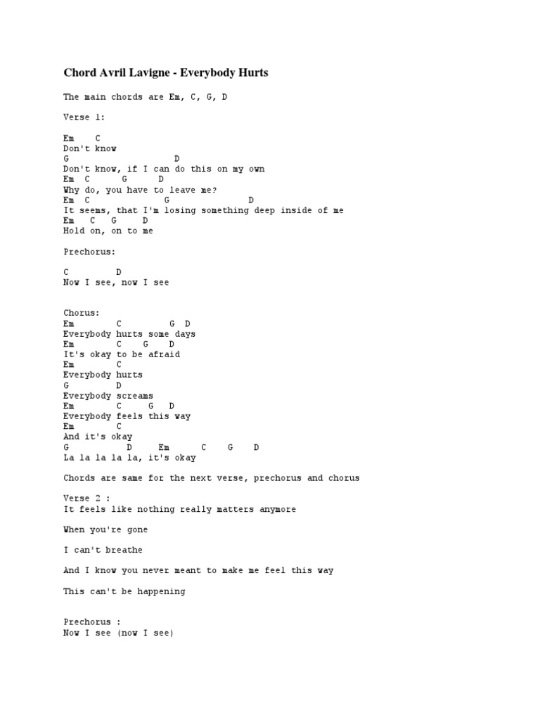 Everybody Hurts Chords Choice Image Piano Chord Chart With Finger
