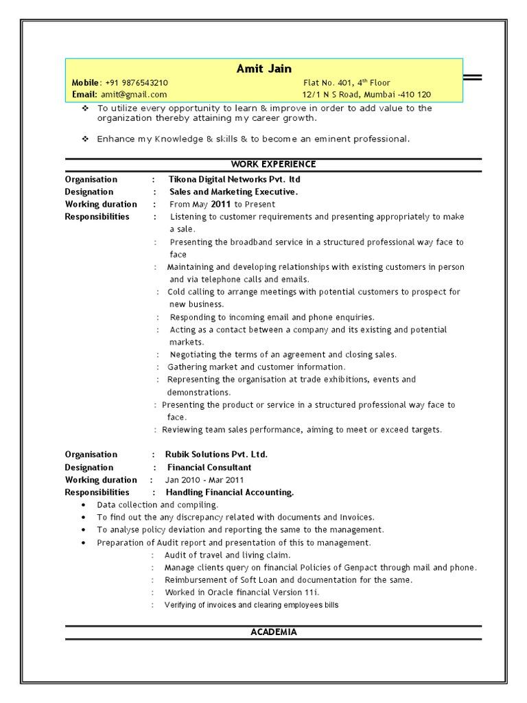 sales executive resume sampledoc  sales  invoice