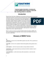 Glossary of MSDS Terms