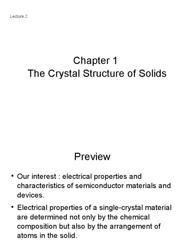 Chapter 1 The Crystal Structure Of Solids Electrical Conductivity Solid Materials Single