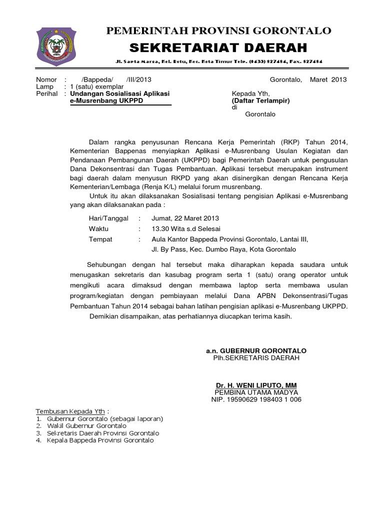 Surat Undangan Sosialisasi Uppd 2013 Docx