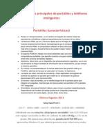Caracteristicas Prinsipales de Portatiles y Telefonos Inteligentes