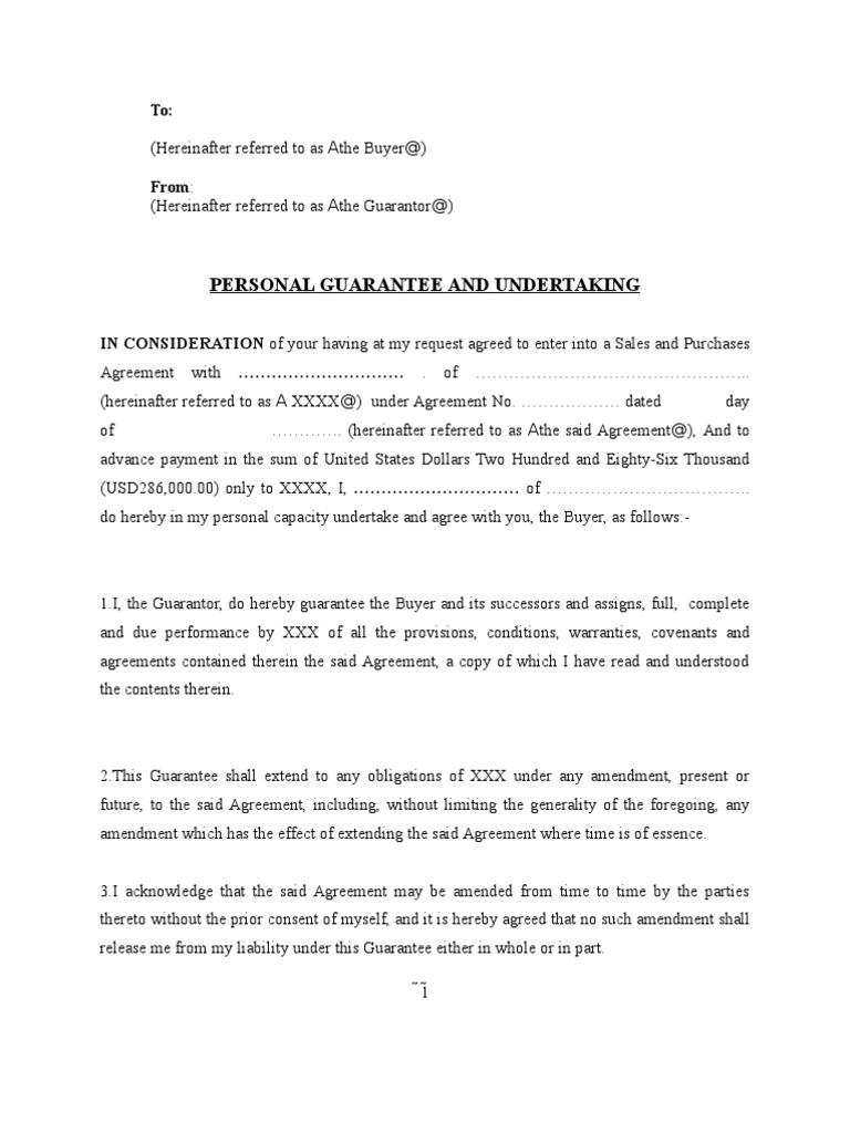 Undertaking Letter Format Construction. Sample Personal Guarantee Contract Law 1522759180 v 1  Undertaking Letter Format Construction Copy college vs high school