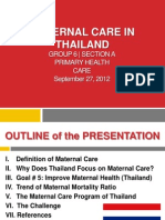 Class Report regarding Maternal Care in Thailand