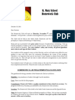 Homework Club Parent Student Application