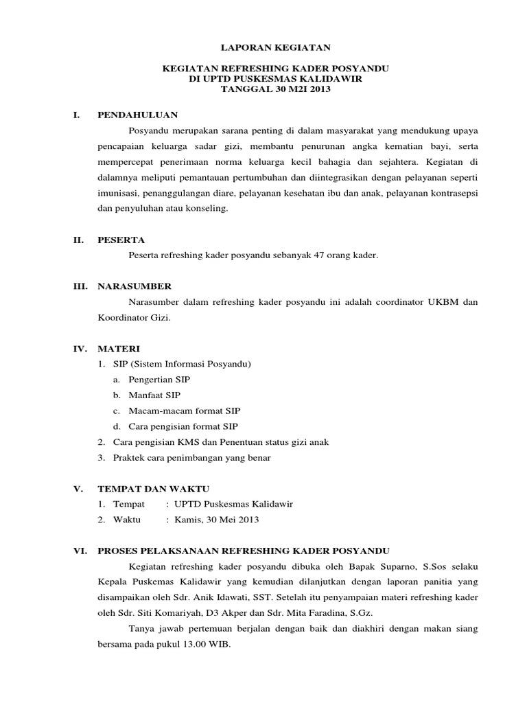 Laporan Kegiatan Refreshing Kader Posyandu Docx