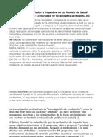Evaluación de resultados e impactos de un Modelo de Salud Mental Basado en la Comunidad en localidades de Bogotá