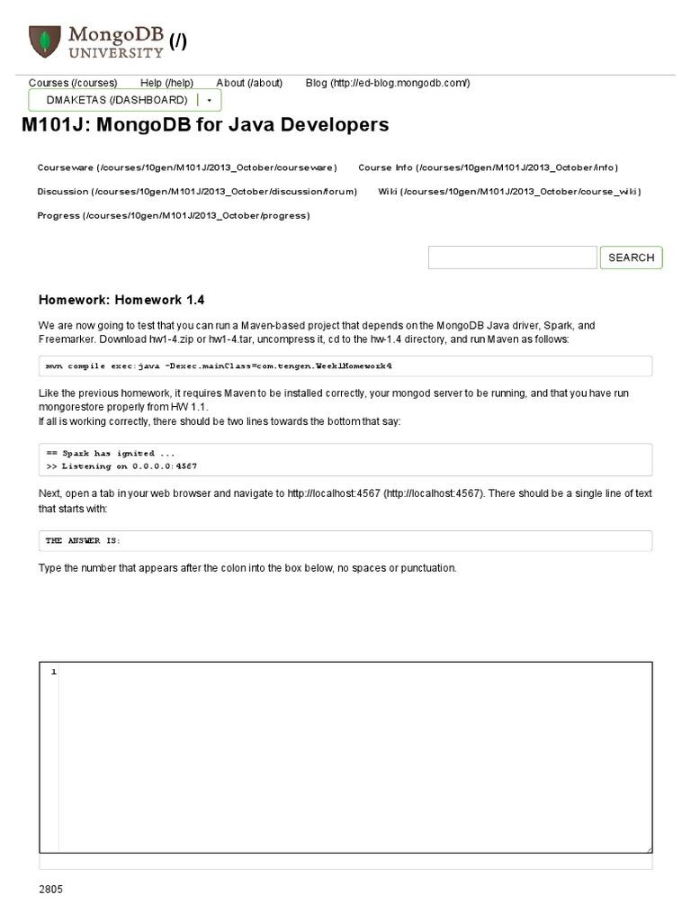 m101j homework 1.1 answers