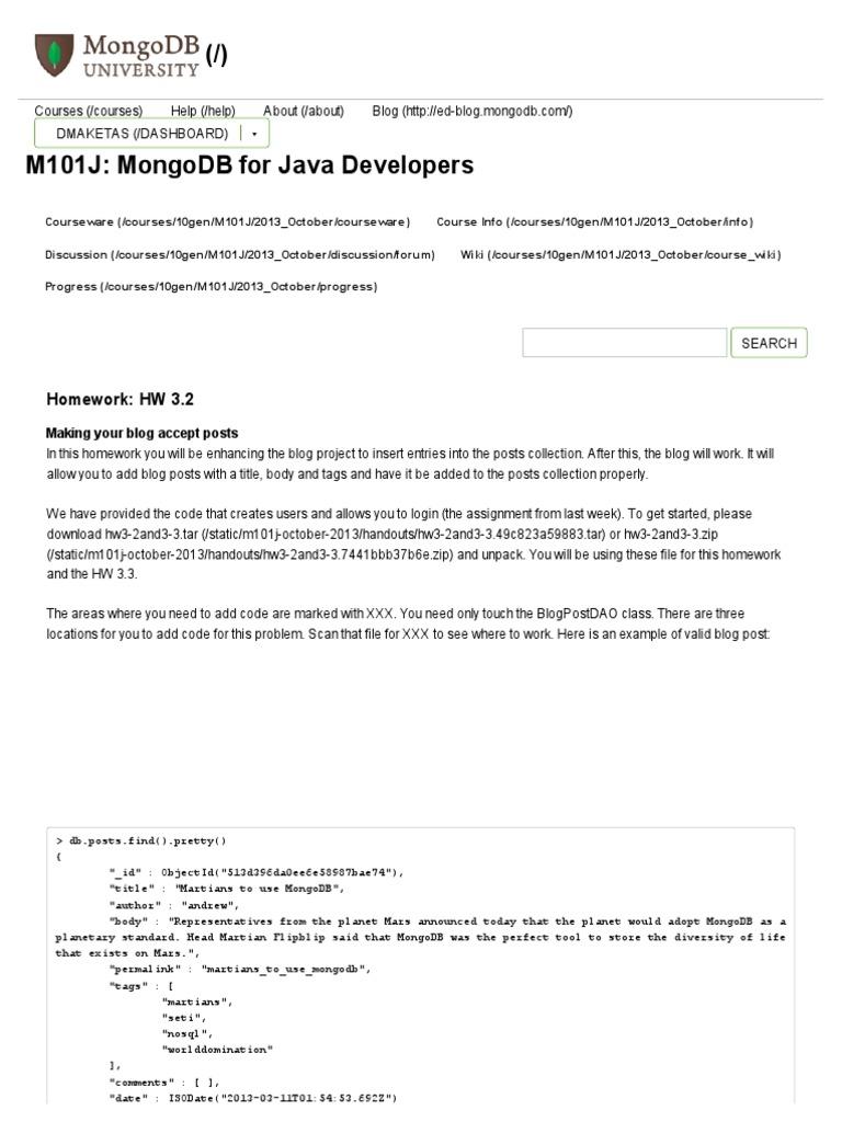 mongodb m101j homework answers 3.2