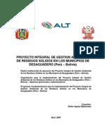 Proyecto Integral de Gestion Amb de Residuos Solidos en Los Municipios de Desaguadero-ALT