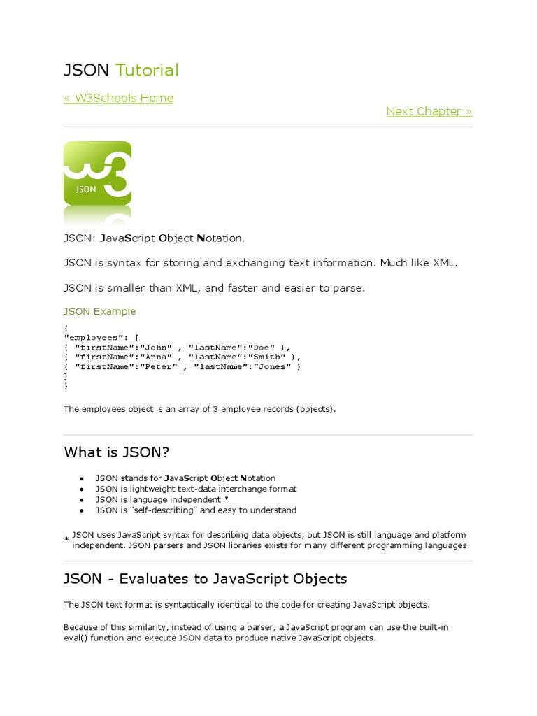 JSON Tutorial docx | Json | Java Script